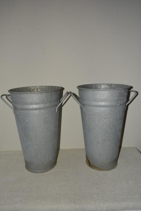 Madamvintage - zinken potten/vazen (met handvaten)
