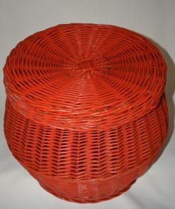 madamvintage - rode/oranje rieten mand