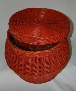madamvintage -rode/oranje rieten mand