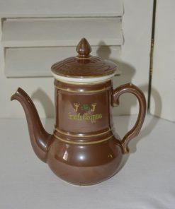 Madamvintage - Pilivite bruin glans porselein koffiepot irish coffee